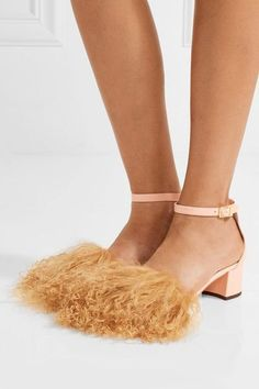 Brother Vellies - Tufted Dhara Shearling And Leather Sandals - Pastel pink