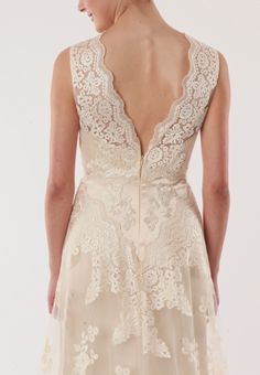 All lace sheath wedding dress with detailed back