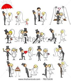 wedding doodle set of bride and groom - stock vector