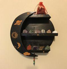 Moon Shelves, Boho Decor, Shelf For Crystal, Moon Shelf, Crystal Shelf Display, Floating Shelves, Crystal Display Shelf, Crescent Moon Shelf