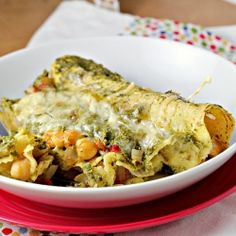 Green goddess enchiladas with a chickpea filling.