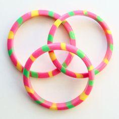 Vintage 60s Mod Lucite Plastic Bangle Bracelet Set of 3 Hot Pink Yellow Green