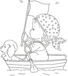 Little pirate sailing with his small dog