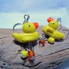 Yellow Rubber Ducky Earrings with Orange and Yellow Glass Beads