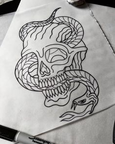 Drew this up yesterday, it's available...space NXT week thanks #skull #snake #tattoo #tattoodesign #blacktattooart #traditionaltattoo…