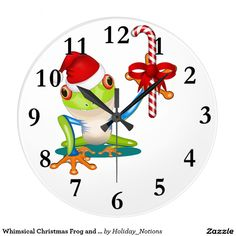 Whimsical Christmas Frog and Candy Cane Wall Clock