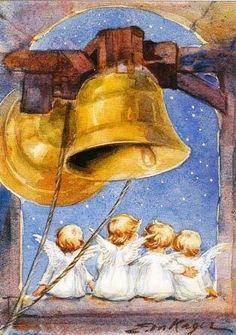 Vintage Christmas Angels and Bells Vintage Christmas Images, Retro Christmas, Christmas Pictures, Christmas Art, Vintage Greeting Cards, Christmas Greeting Cards, Christmas Greetings, Vintage Illustration, Christmas Illustration