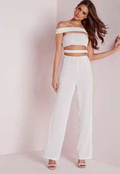 Missguided - Strappy Bardot Jumpsuit White
