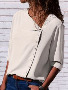Basic Tops, Mode Inspiration, White Long Sleeve, Types Of Sleeves, Short Sleeves, Shirt Blouses, Tee Shirt, Women's Shirts, Denim Shirts