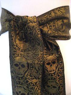 GOLD-BLACK-brocade-Skulls-Pirate-Steampunk-Rocker-Goth-POTC-skulls-SASH-belt