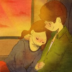 ♥  HE COMFORTS ME  ~  Commuting by train can be so uncomfortable until he decided to tenderly hold me close so if I dozed off, I could actually get some rest.  ♥  by Puuung at www.facebook.com/puuung1  ♥