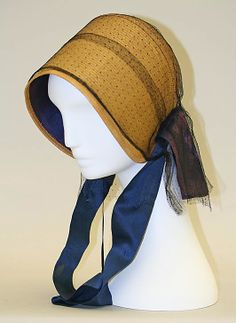 1800-1875 bonnet, American, straw, gift of Mrs. DeWitt Clinton Cohen, 1939