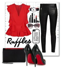"""""""Add Some Flair: Ruffled Tops"""" by lady-on-million ❤ liked on Polyvore featuring Cartier, Alexander McQueen, Christian Louboutin, Giorgio Armani, Mondaine, Casetify and ruffledtops"""