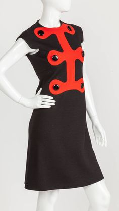 Iconic Pierre Cardin Space Age Mod Day Dress w/Abstract Design Motif Ca. 1972 | From a collection of rare vintage day dresses at https://www.1stdibs.com/fashion/clothing/day-dresses/