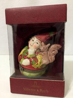 Villeroy & Boch Christmas Trinket Box Elf & Squirrel #6865 NIB #VilleroyBoch