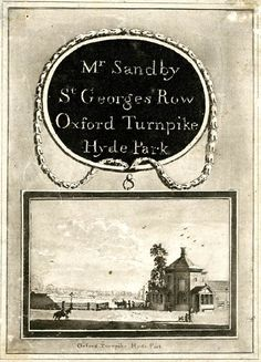 Trade card of Paul Sandby (Nottingham 1731 – 9 November 1809 London) , drawing master. Vintage Labels, Vintage Cards, Vintage Paper, Decoupage, London Pictures, Old London, Ancient Artifacts, Detailed Image, British Museum