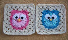It's A Hoot Square Motif By Amanda Wheeldon - Purchased Crochet Pattern - (ravelry) Crochet Square Patterns, Crochet Squares, Crochet Motif, Irish Crochet, Knit Crochet, Granny Squares, Crochet Owls, Crochet Owl Blanket, Crochet Blanket Patterns