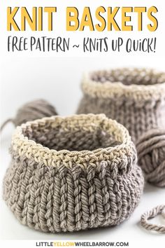 Cute DIY baskets you can knit up quick and easy. This simple craft project requires a single skein of yarn and requires only basic knitting knowledge. A perfect knitting project for beginners. Knit up a few to give away as handmade gifts. #knitbaskets #knittingforbeginners #freeknittingpattern #easycrafts #diyprojects #easycrochet #RedHeart #knittingprojects #knittingpattern #easyknitting