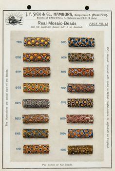 The Bead Goes On: The Sample Card Collection with Trade Beads from the Company J.F. Sick & Co.