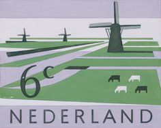Stamp Design by Reindert Juurt Draijer, Nov. 1961, Netherlands Scenery. #Windmills #Dutch