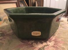 Vintage Haeger Green Planter, Haeger Pottery, Hexagon Shaped Planter, 7 inch Planter, Dark Green Pottery, Green Planter, Home Decor