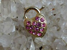 Heart Shaped Padlock Clasp with Pink Rhinestones on Front, Spring Ring at Top, Coro Pegasus Mark on Back, Perfect for Bracelet or Necklace by postGingerbread on Etsy
