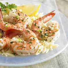 Shrimp Scampi: Succulent shrimp are simmered in a light garlic butter sauce. Serve with orzo or rice.