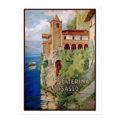 Shop Vintage Lake Maggiore convent Italian travel Postcard created by aapshop. Vintage Travel Posters, Vintage World Maps, Retro Poster, Bright Background, Poster Prints, Art Prints, Vintage Italian, Artist Canvas, Custom Posters