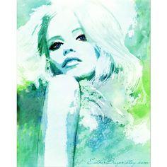Aqua Blue Hues- Watercolor Fashion Illustration Ocean Waves Print ($35) ❤ liked on Polyvore