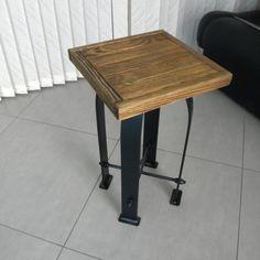 Reclaimed Urban Wood Industrial Bar Stool w/ Steel Back - Industrial Modern (350.00 USD) by SteelWoodStoneSWS