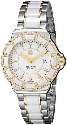 Como se muestra en el diamante de la fórmula 1 de acero y de cerámica reloj para mujer