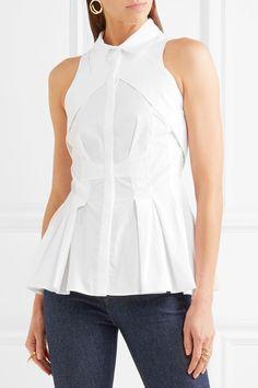 Antonio Berardi - Paneled Cotton-poplin Peplum Top - White - IT48