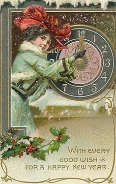 Tuck New Year Series - pretty ladies with clocks