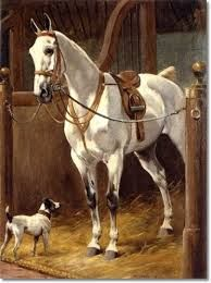 Grey with Fox Terrier in a Stable by Charles-Fernand de Condamy (1855-1913)