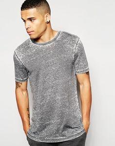 ASOS Loungewear Longline T-Shirt In Burn Out Fabric