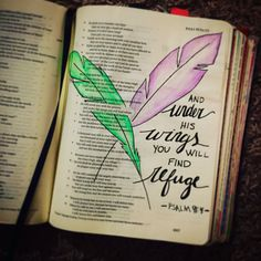 Bible Journaling, My work - Cassi B (bright_forest) Psalm 91:4