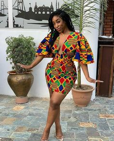 ankara stil The dress is made from Kente print fabric It fastens at the back with a zipper. Fully lined and made from African print cotton. Fabric model has on may not be available. African Party Dresses, Short African Dresses, Latest African Fashion Dresses, African Print Dresses, African Print Fashion, Africa Fashion, Fashion Prints, African Prints, Ankara Fashion
