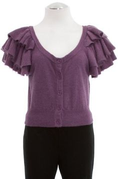 French Connection Violet Angora Blend 'Buffy' Ruffle Sleeve Cropped Cardigan X-Small French Connection. Save 49 Off!. $59.99