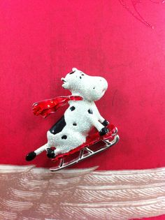 Doracraft Sledding Cow Vintage Brooch enamel by TheOldJunkTrunk, $8.00
