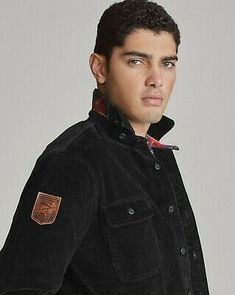 """Leather """"Ralph Lauren Polo"""" skier patch at the right sleeve. """"Polo"""" label at the left chest pocket. Downhill Ski, Collar Styles, Work Shirts, Shirt Jacket, Corduroy, Skiing, Ranch, Chef Jackets, Polo Ralph Lauren"""