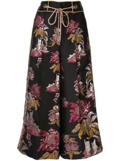 Peter Pilotto Floral Pattern Jacquard Culottes In Column Flower Black Peter Pilotto, Cropped Trousers, World Of Fashion, Baby Design, Floral, Your Style, Women Wear, Clothes For Women, Model
