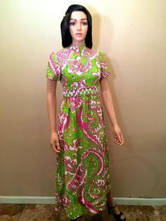 a186e6d3565 Vintage 60s Mod Long Maxi. Wedding Guest Beaded Dress. Sandine Original  Psychedelic Lime Green Hot Pink Hostess Gown. Mod Mad Men Megan! XXS
