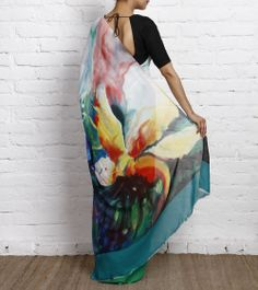 Multicoloured Hand Painted Georgette Saree