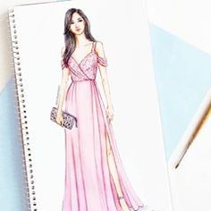 Blush, elegant and inspired from fresh blossoms. With lace details and feminine drape, this dress is sure to steal the show 💕 Get your own customized outfit from Dress Design Drawing, Dress Design Sketches, Fashion Design Sketchbook, Dress Drawing, Fashion Design Drawings, Fashion Sketches, Fashion Figure Drawing, Fashion Drawing Dresses, Fashion Illustration Dresses