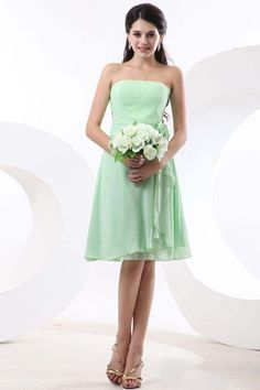 2013 Bridesmaid Dresses Green A Line Strapless Knee Length Chiffon