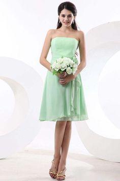 2013 Bridesmaid Dresses Green A Line Strapless Knee Length Chiffon
