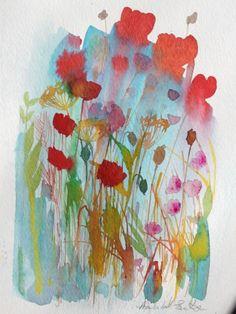 Original Watercolour Painting 'Different Flowers' Signed Annabel Burton