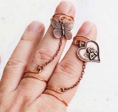 Double Knuckle Midi Slave Chain Ring Copper Wire Wrap Angel Butterfly Adjustable #Chain