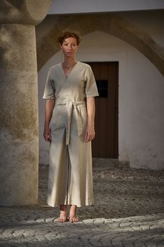 Naked & Famous Denim Wrap Jumpsuit Linen/Cotton Canvas Oatmeal Cotton Linen, Cotton Canvas, Wrap Jumpsuit, Soft Hands, Half Sleeves, Woven Fabric, Oatmeal, Naked, Normcore