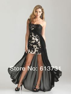 Evening Dresses Black Lace Appliques Short Front Long Back Dress US $129.00
